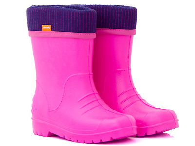 Demar DINO F Wellington boots for kids Girls pink Wellies Fleece-Lined Light