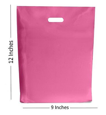 """HOT PINK PLASTIC BAGS / GIFT CARRIER BAG / BOUTIQUE RETAIL - 9x12"""""""