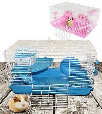 Hamster Cage Pet Animal Mice Mouse Feeding Station Bed Wheel Bottle Dish & Slide