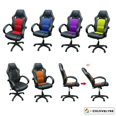 Office Chair Racing Gaming Swivel Pu Leather Sport For Computer Desk Chair Uk