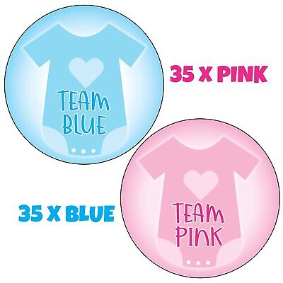 70 x GENDER REVEAL PARTY baby shower, 35x Team Girl 35x Team Boy Stickers 1056