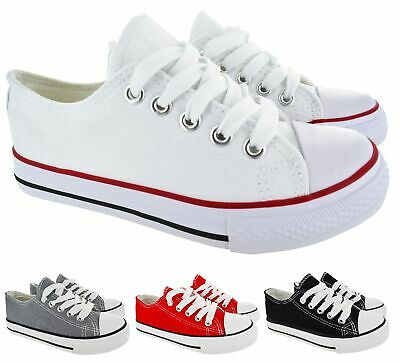 Kids Girls Boys Casual Flat Canvas Lace Up Pumps Plimsolls Trainers Shoes Size