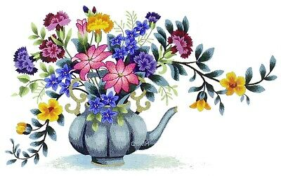 Elsa Williams Tea Room Floral Crewel Embroidery Kit Michael A. LeClair Teapot