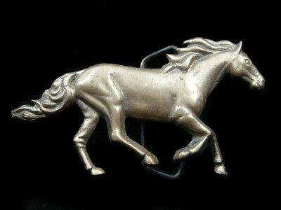 Rk13103 Vintage 1978 Cut-Out **Wild Horse** Solid Brass Baron Belt Buckle