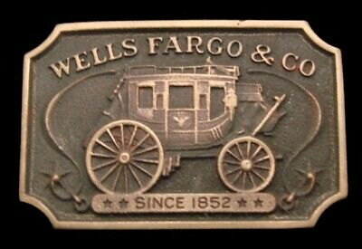 Ph12175 Great Vintage 1973 **Wells Fargo & Co** Official Solid Brass Belt Buckle