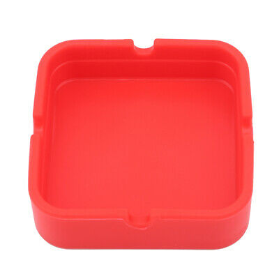 Red Portable Rubber Silicone Soft Eco-Friendly Square Ashtray Ash Tray Holder S