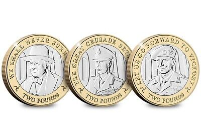 UNC Isle Of Man Coins Set 3x £2 Pounds 2019 D Day Montgomery Churchill George II