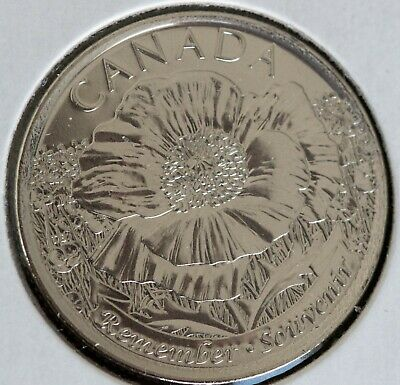 2015 CANADA POPPY 25 CENT QUARTER COIN NO COLOUR BU,  Taken from mint roll.