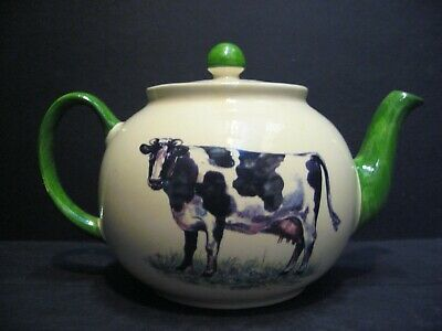 Heron Cross Pottery Hand Decorated Cow 6 Cup Tea Pot or 4 mugs (CLASS SECONDS)
