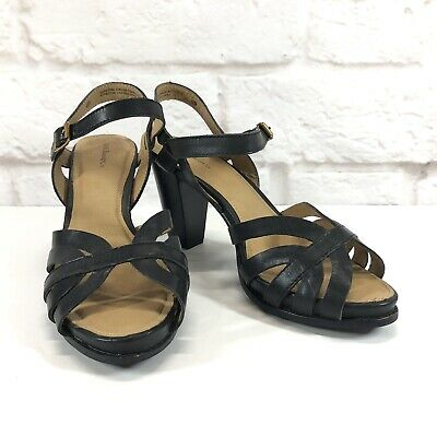 63ca7a1e3f69 Women s G. H. Bass Heels 7.5M Black Genuine Leather Shoes Strappy Dress  Sandals