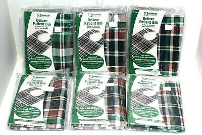 "(6) New Essential Medical Supply 18"" x 30"" Plaid Deluxe Patient Bibs"
