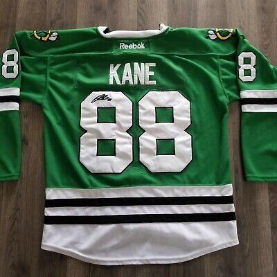 2b251118741 Autographed Patrick Kane Chicago Blackhawks Reebok St Patricks Day Green  Jersey