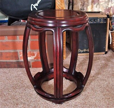 Late 19th - Early 20th Century Chinese Rosewood Barrel-Form Drum Stool