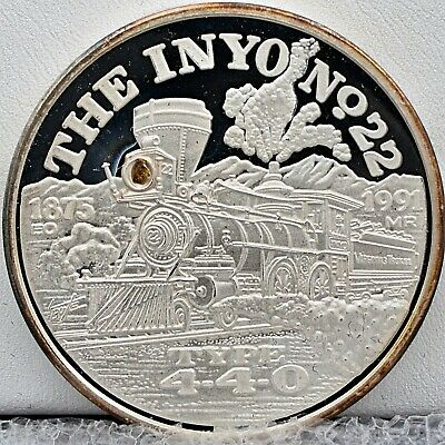 V&TRR Nevada 2oz Silver Train Round Inyo No.22 with Real Gold Nugget Inlay!