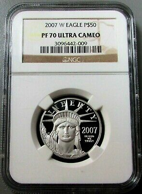 2007 W Platinum $50 Eagle 1/2 Oz Statue Of Liberty Ngc Proof 70 Ultra Cameo Coin