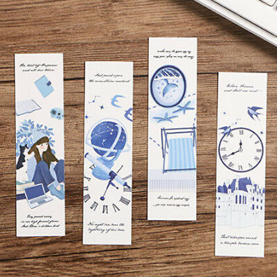 30Pcs/lot Hot Cute Creative Flower Paper Bookmarks Vintage Word Cards Gifts UK
