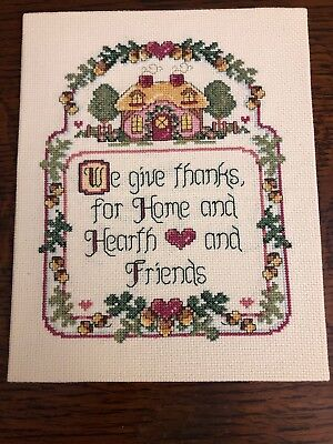 Completed Needlepoint We Give Thanks For Home Hearth Friends 8x10 Gift
