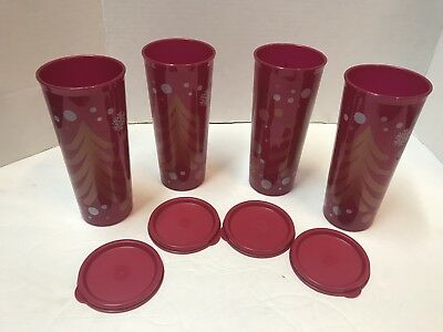 NEW Tupperware Tumblers - Set of 4 - 16 oz - CHRISTMAS GLITTER With RED Seals