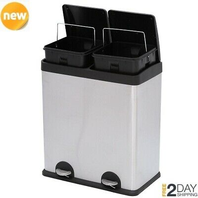 KITCHEN STAINLESS STEEL Trash Can 2-Compartment Recycling ...