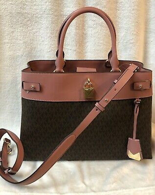 09a7f4e50e7a Michael Kors Gramercy Signature Large Satchel Brown/Rose New With Tags
