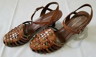 0ed09058ce29 Womens Sz 9 M Brown Green Naturalizer Leather Strap Slingback Close Toes  Sandals