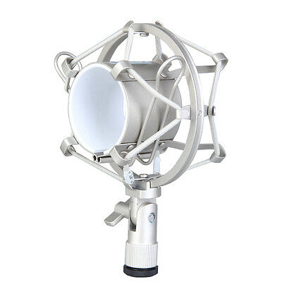 Studio Microphone Silver Shock Mount Holder For 48mm-54mm Diameter Condenser Mic