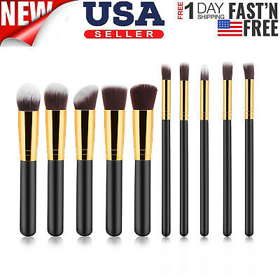 Beauty 10pcs Round Eyeliner Brush Thread Cosmetic Make Up Brushes Set Black