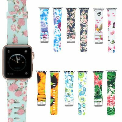 Silicone Band Flower Floral Print Strap For Apple Watch iWatch Series123 38/42mm