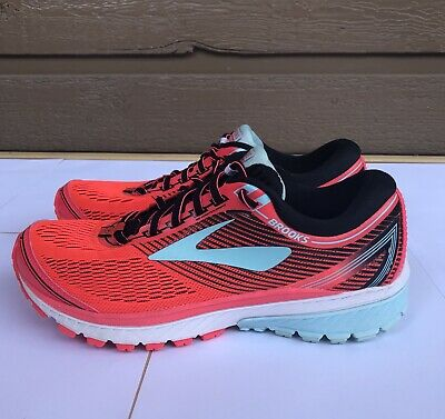 a3c4a4ec4fcd1 Brooks Womens Ghost 10 Running Shoes Diva Pink Black Iceland Blue White Size