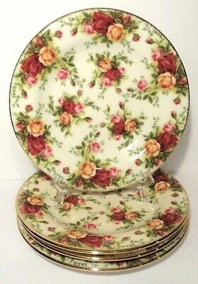 """4 Royal Albert Old Country Roses Classic III - 7 3/4"""" Salad Plates Cream"""