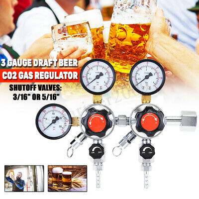 3 Gauge Draft Beer Co2 Gas Regulator Primary + Secondary 2 Products, 2 Pressures