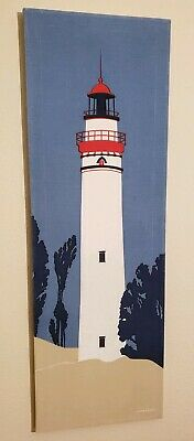 MARUSHKA Lighthouse Seascape Vtg Midcentury Modern Linen Fabric Art Print Beach
