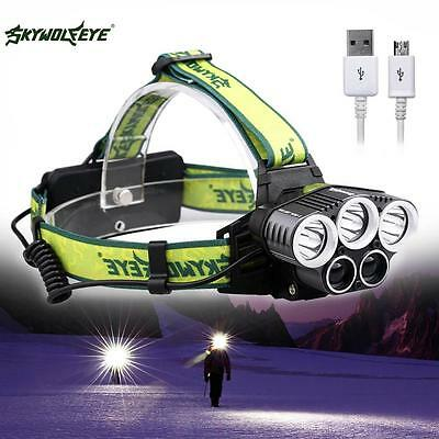 80000LM 5X XM-L T6 LED Rechargeable USB Headlamp Headlight Travel Head Torch BE