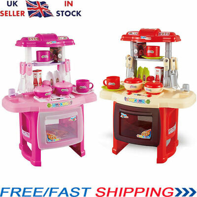 UK Portable Electronic Children Kid Kitchen Cooking Girl Toy Cooker Play Set New
