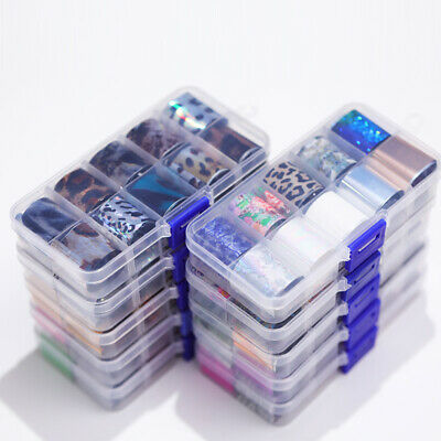 10Rolls/Box Holographic Nail Foil Mixed Starry Sky Nail Art Transfer Sticker DIY