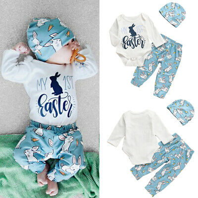 c18a36e50 My 1st Easter Clothes Newborn Baby Boy Girl Bunny Romper +Legging Pants  Outfits