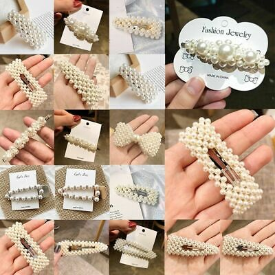 Women Girls Pearl Hair Clip Gold Hairpin Slide Grips Barrette Hair Accessories