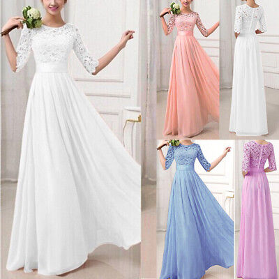 Women Lace Long Dress Evening Party Gown Prom Ladies Bridesmaid Wedding Oversize