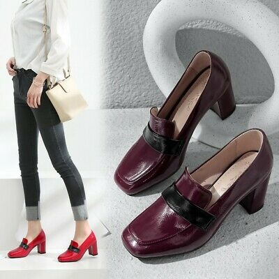 OL Ladies Block Heels Pumps Loafers Slip on Spring Casual Office Shoes UK Size