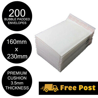 200x Bubble Mailer Envelope 160x230mm White Kraft Paper High Cushion Padded Bag