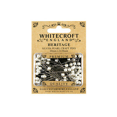 Whitecroft Heritage Pearl Head Silver Craft Pins 40mm x 0.58mm 89261