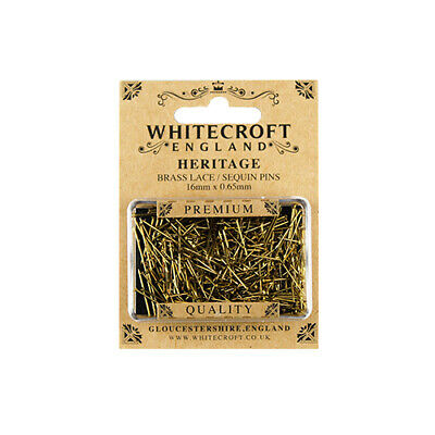 Whitecroft Heritage Brass Lace/Sequin Pins 16mm x 0.65mm 89291