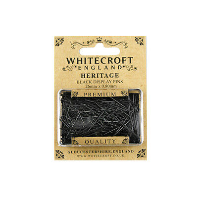 Whitecroft Heritage Black Display Pins 26mm x 0.8mm 89301