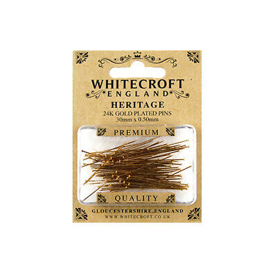 Whitecroft Heritage Gold Plated Pins 30 mm x 0.50mm 89311