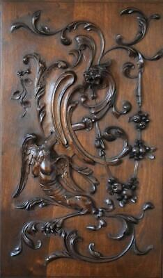 XXL Antique French Architectural Hand Carved Wood Door Wall Panel with Griffin