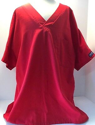 Cherokee Scrub Top Solid Red Workwear Medium Womans Size M