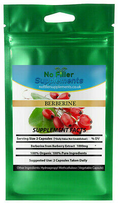 NoFillerSupplements Organic Berberine From Barberry Extract Vegetable Capsules