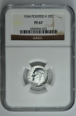 1964 Pointed 9 10c Silver Proof Roosevelt Dime NGC PF 67