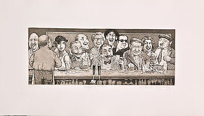 "Charles Bragg - ""Happy Hour"", hand signed etching"