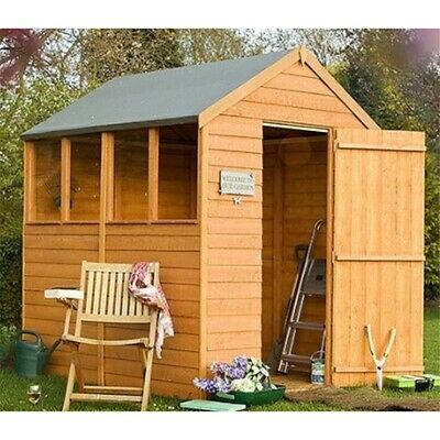 7ft x 5ft Wooden Overlap Garden Shed with Single Door and Four Windows
